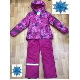SUPER GIFT Зимний мембранный костюм ЦВЕТЫ РОЗОВЫЙ 110-134
